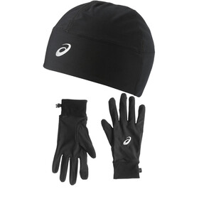 asics Performance Pack Löphandskar Gloves and Beanie svart